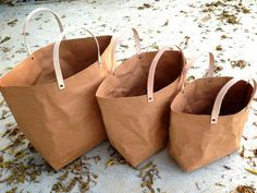 kraft fabric paper reusable tote + leather handles, butter home seattle