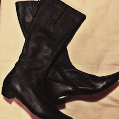 Black Faux Leather Boots  SUPER Cute boots; comfy inside; only worn 2-3times; normal wear on heels;  otherwise in EXCELLENT condition  BUNDLE & SAVE  Nine West Shoes Heeled Boots