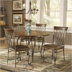 Bundle-84 Montello Round Dining Set (5 Pieces) by Hillsdale. $1025.32. [***INCLUDED IN THIS SET: (3)Montello Side Chairs (Set of 2), (1)Montello Round Dining Table Top, (1)Montello Dining Table Base] Features: -Baker's rack features four shelves for more efficient storage space.-Console mirror features beveled reflective surface.-Dining chairs feature distressed brown faux leather seats. Includes: -Kit includes four dining chairs. Color/Finish: -Old steel finish.-Console table f...