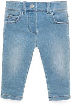 Gucci Terry-Lined Stretch-Denim Jeans, Aqua Marine, Size 3-36 Months