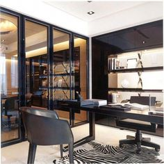 Classic office design with my fav black framed glass sliding doors…. Classic office design with my fav black framed glass sliding doors🖤🖤🖤. Law Office Design, Ceo Office, Office Workspace, Small Office Furniture, Modern Office Decor, Office Ideas, Executive Room, Office Interiors, Black Interiors