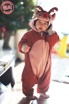 f798d356fc Christmas Rudolph Costume Animal Kigurumi Pajamas For Kids Cosplay Unisex  Onesie Korea Made. Christmas Baby
