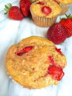Strawberry Oatmeal Yogurt Muffins - The Lemon Bowl These are tasty.if you don't mind less sweetness than the typical muffin. I will eat them again! Strawberry Oatmeal Muffins, Oatmeal Yogurt, Strawberry Blueberry, Strawberry Recipes, Healthy Muffins, Healthy Treats, Healthy Desserts, Healthy Recipes, Dessert Sans Gluten