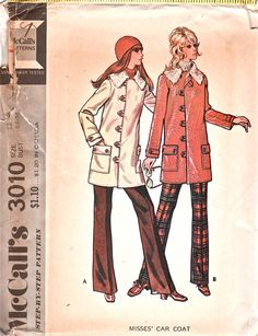 1970s McCalls 3010  Misses  Car Coat  Pattern Fake Fur Lined jacket womens vintage sewing pattern by mbchills,