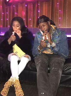 Nicki Minaj shares a photos of herself and 2Chainz smoking weed