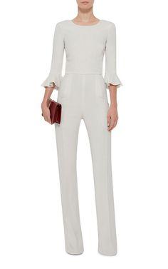 Mara Ruffle Sleeved Jumpsuit by SALONI for Preorder on Moda Operandi   Elegant Chic White Jumpsuit