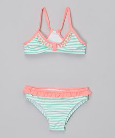 Love this Mint & Pink Bikini - Toddler & Girls by Jessica Simpson Collection on #zulily! #zulilyfinds