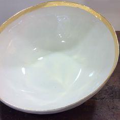 Centrotavola porcellana bordatura in oro