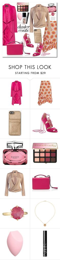 """""""Get the look Duster Coats pink"""" by vkmd ❤ liked on Polyvore featuring Altuzarra, L.K.Bennett, Gucci, Sephora Collection, Mark Cross, Ippolita, NARS Cosmetics and DusterCoats"""