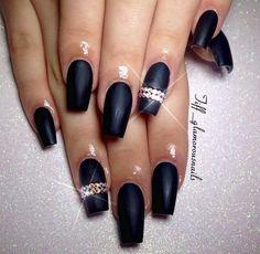 Matte black coffin nails with gemstones