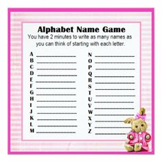 Baby Shower Alphabet Name & Bingo Game Pink Bunny Card - gift for her idea diy special unique