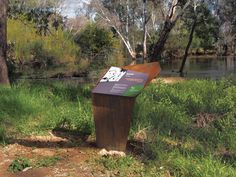 Our Bullawah Cultural Heritage Trail signage features angled panels, laser cut motifs, bold illustrations and colours reflective of the environment. Signage Design, Trail, Environment, Exhibit Design, Colours, Outdoor Decor, Artwork, Work Of Art
