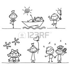 KID DRAWING LINE: set of hand drawing cartoon happy kids playing