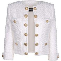 BALMAIN Blazer (7.600 BRL) ❤ liked on Polyvore featuring outerwear, jackets, blazers, balmain, casacos, white, fleece-lined jackets, white blazers, 3/4 sleeve jacket and white tweed blazer