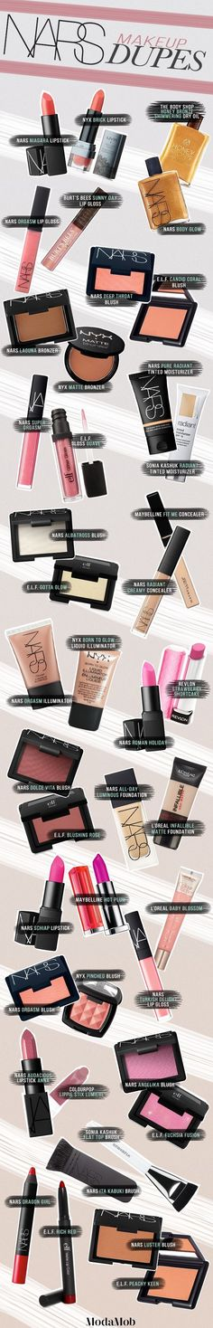 In case you needed some NARS dupes in your life. Who am I kidding, everyone needs NARS dupes. Kiss Makeup, Love Makeup, Makeup Tips, Makeup Looks, Hair Makeup, Makeup Products, Makeup Set, Makeup Trends, Beauty Products