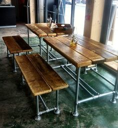 Small industrial factory style dining table and benches | eBay