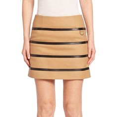 Sonia by Sonia Rykiel Faux Leather Striped Wool-Blend Skirt (£230) ❤ liked on Polyvore featuring skirts, apparel & accessories, biscuit, sonia by sonia rykiel, vegan leather skirt, fake leather skirt, stripe skirts and imitation leather skirt