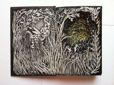 Illustrator Isobelle Ouzman upcycles would-be discarded books into sculptural works of art. She cuts back the pages and draws nature scenes that together, create an alluring new narrative. The primarily black-and-white images have spots of color added to them, and they hearken the viewer into