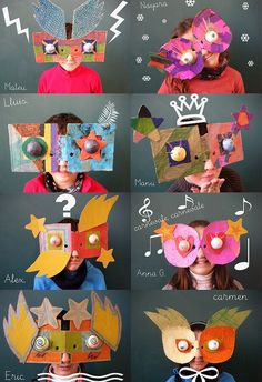 Great Masks using cardboard, cereal boxes and other discards.