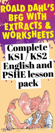 Complete / English and PSHE lesson pack for Roald Dahls BFG with extracts and worksheets Bfg Activities, Roald Dahl Activities, Literacy Worksheets, Spelling Activities, English Activities, Classroom Activities, Ks2 English, Primary English, School Resources