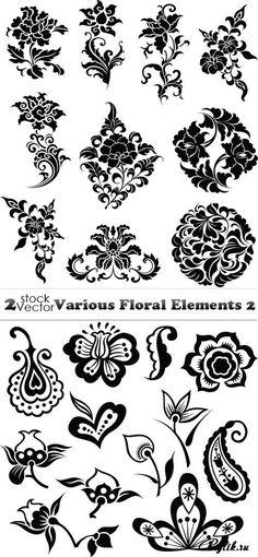 Черные цветы и узоры - декоративные векторные элементы