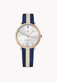 Canvas Strap, Rose Gold Plated Tommy Hilfiger Watch
