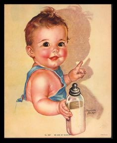 """VINTAGE 1940""""S """"ME AND MY SHADOW"""" CUTE LITTLE BABY ART PRINT BY CHARLOTTE BECKER #Vintage"""