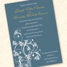 slate blue wedding invitation graduation by CeceliaJane on Etsy, $20.00