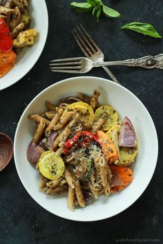 Pasta with Roasted Vegetables, a simple kid friendly healthy pasta ...