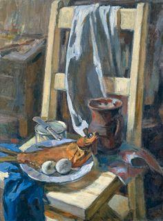 Still life with fish 1970 by Evgenia Vassilevna Baykova Leningrad school.