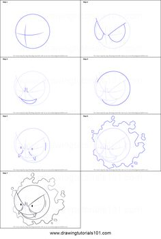 How to Draw Gastly from Pokemon printable step by step drawing sheet : DrawingTutorials101.com