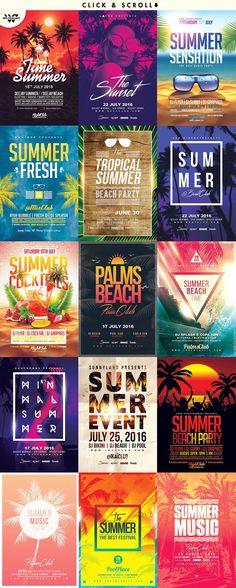90%OFF 15 SUMMER BEACH Flyer Bundle Template PSD