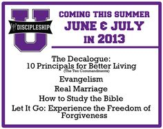 Join us on Wednesday as we continue Discipleship University.