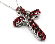Dark Red Chainmail Cross Necklace -  Celtic Style Metal Cross Pendant. $13.00, via Etsy.