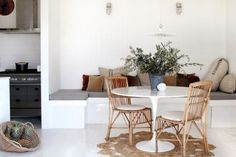 Not so much the style as the idea- small round table, a couple of chairs and a…