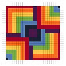 Cross Stitch Rainbow Block 8