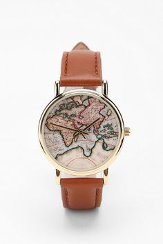 I love the idea of a feminine map watch with leather band... Simple yet beautiful. Not too big so I can wear it every day.