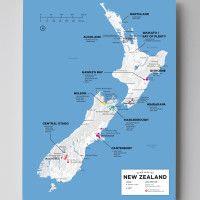 12x16 New Zealand wine map by Wine Folly