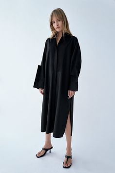 ZARA - WOMAN - PINTUCK POPLIN DRESS Frilly Shirt, Checked Blazer, Poplin Dress, Belted Coat, Faux Leather Skirt, Draped Dress, Dress Cuts, Pin Tucks, Zara Women