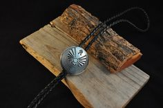 Vintage Bolo Tie Man in Maze sterling silver bolo  black leather cord bolo Tie JP1073 by Andiesvintage on Etsy
