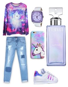 """White purple sneaker  set"" by evagelialove on Polyvore featuring adidas, Bebe, Puma and Calvin Klein"