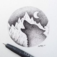 A Wolf Howls at The Dead of Night – Art Sketches Dotted Drawings, Pencil Art Drawings, Art Drawings Sketches, Animal Drawings, Wolf Drawing Easy, Moon Drawing, Wolf Howling Drawing, Cool Wolf Drawings, Wolf Sketch