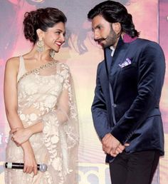 Ranveer Singh with Deepika Padukone at the first look launch of 'Ram Leela' love her sari Bollywood Images, Bollywood Celebrities, Bollywood Style, Bollywood Actors, Deepika Ranveer, Deepika Padukone Style, Ranveer Singh, Deepika Hairstyles, Messy Hairstyles