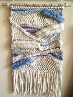 White and Blue Handmade/Handwoven Wall Weaving, Wall Art, Fiber Art