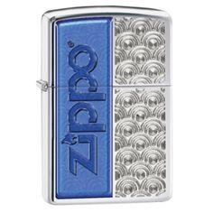 Zippo Blue Zippo Logo/Design HP Chrome Zippo