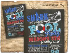 Pool party invitation Shark invitation for pool by 2birdstudios, $20.00