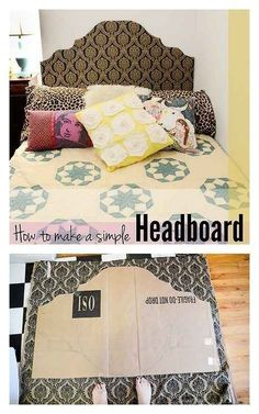 Make a headboard out of cardboard, tape, and fabric.