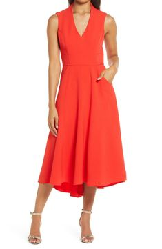 Free shipping and returns on Eliza J High/Low Fit & Flare Dress at Nordstrom.com. A wear-anywhere V-neck dress sewn with topstitched panels of stretch crepe is cut with a flared skirt that moves gracefully at every turn. Fit Flare Dress, Flare Skirt, Fit And Flare, Dresses For Sale, Nice Dresses, Dresses For Work, Formal Dresses, Navy Evening Dresses, Nordstrom Anniversary Sale