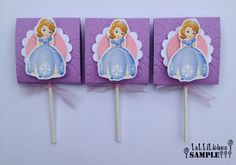 Cute Idea!  Sofia the First inspired lollipop candy favors set by LoLLiLicious, $15.00