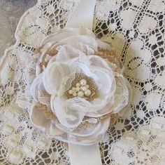 Burlap Wedding Wrist Corsage, Bridal Corsage, Fabric Corsage, bridesmaids corsage, Bridal Accessory, Rustic Corsage, Bracelet